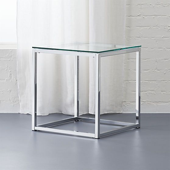 smart glass top side table | CB2 | Glass top side table, Smart .
