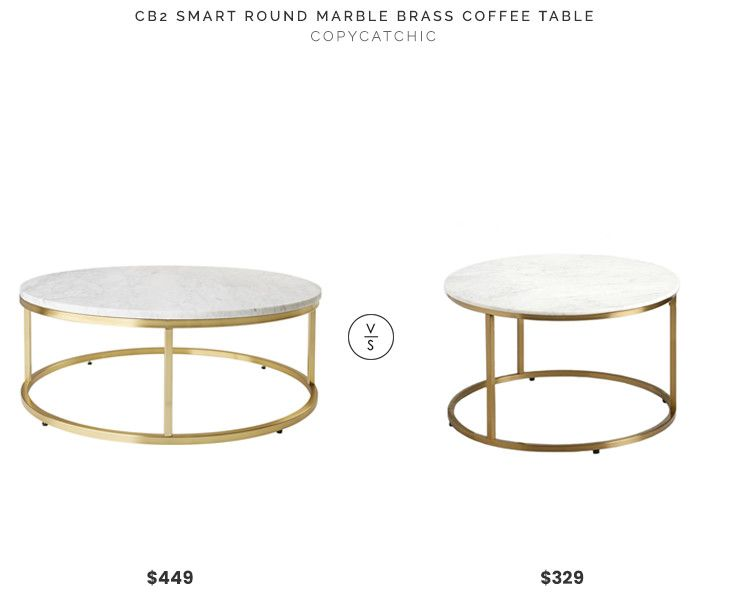 CB2 Smart Round Marble Brass Coffee Table $449 vs. World Market .