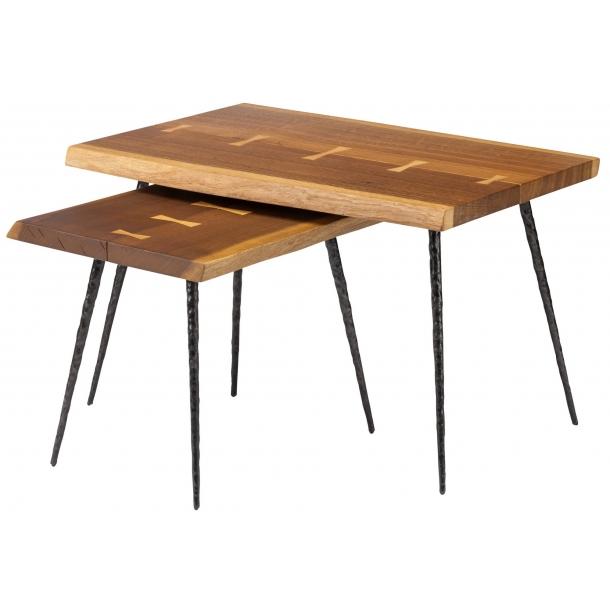 Nexa Smoked Oak Nested Side Tables (HGSR594) by Nuevo Livi