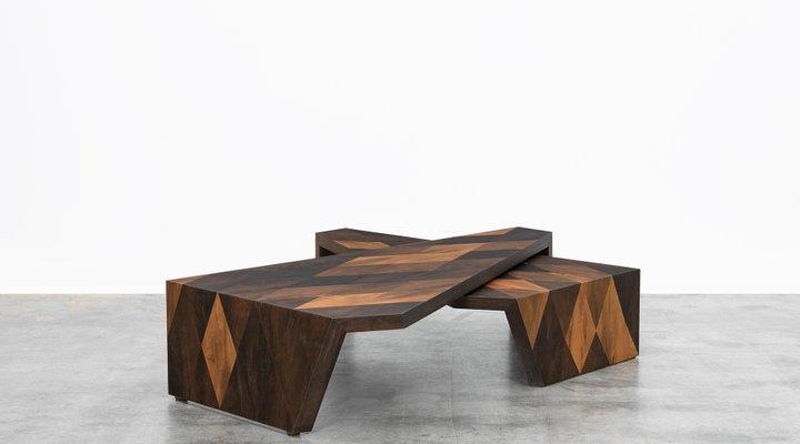 Smoked Oak Side Tables by Johannes Hock for Atelier Johannes Hock .