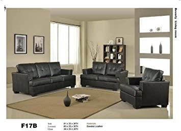 Amazon.com: 3 PCs Black Classic Leather Sofa, Loveseat, and Chair .