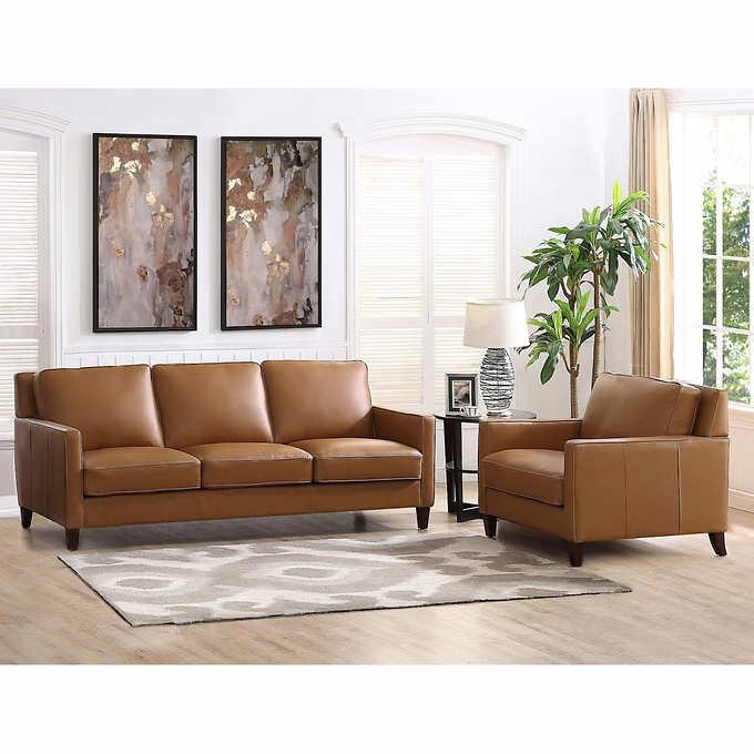 West Park 2-piece Leather Set - Sofa, Cha