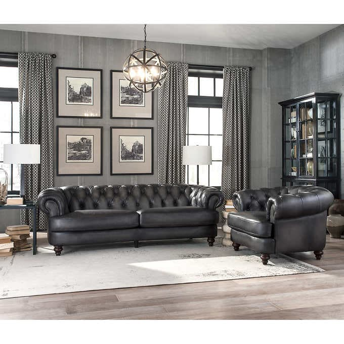 Glenbrook 2-piece Leather Set - Sofa, Cha