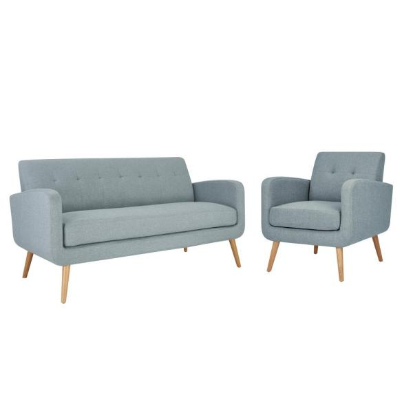 Handy Living Kingston Mid Century Modern Sofa and Arm Chair Set in .