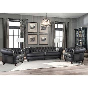 Glenbrook 3-piece Leather Set - Sofa, 2 Chai