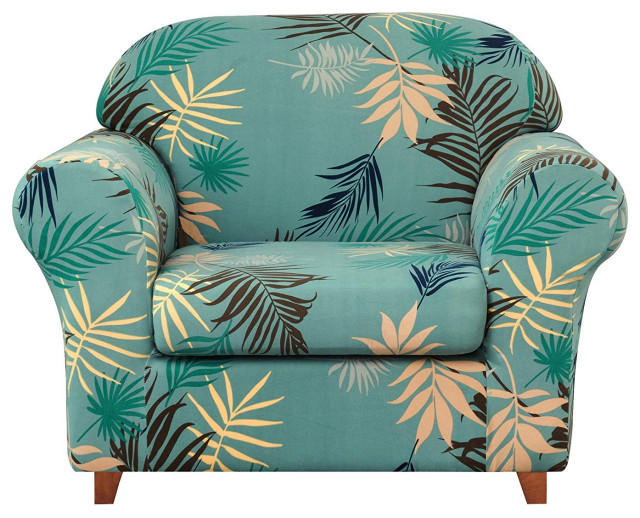 Subrtex 2-Piece Leaves Printed Stretch Sofa Slipcovers .