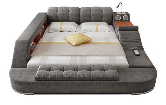 The Ultimate Bed With Integrated Massage Chair, Speakers, and De