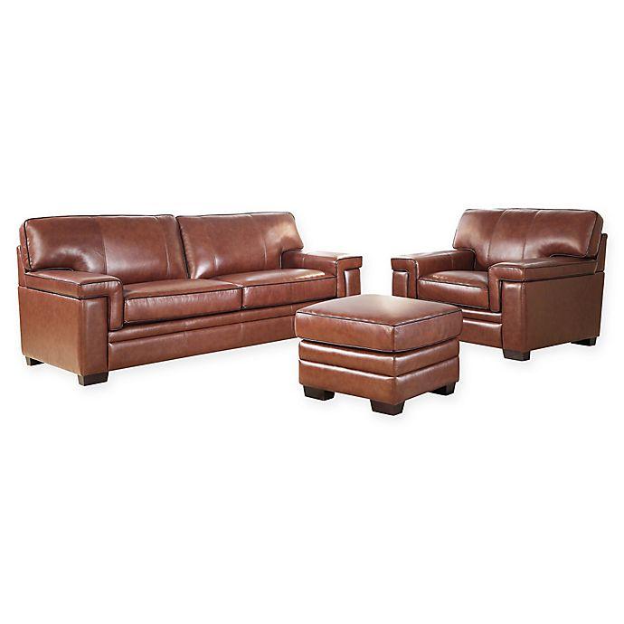 Abbyson Living™ Arlo 3-Piece Leather Sofa, Chair and Ottoman Set .