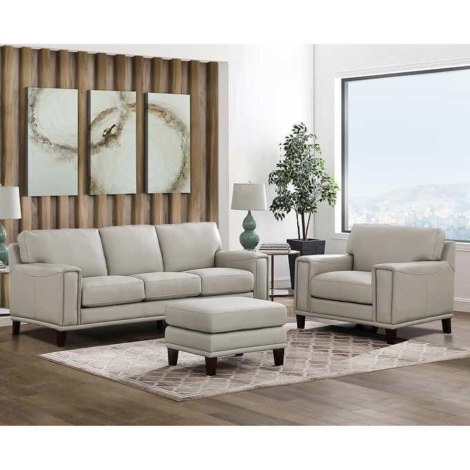 Jensen 3-piece Leather Set - Sofa, Chair, Ottom
