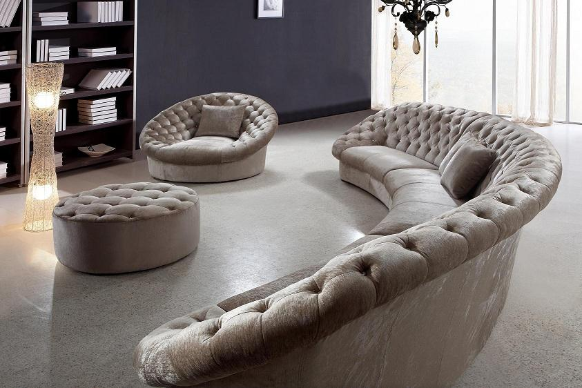 Leon Fabric Sectional Sofa, Chair and Round Ottoman | Fabric .