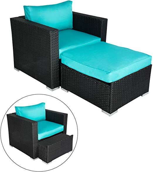 Amazon.com: Wicker Furniture Single Chair with Ottoman, All .