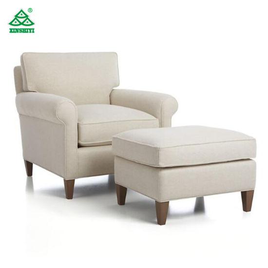 Modern Elegance Fabric Hotel Living Room Single Sofa with Ottoman .