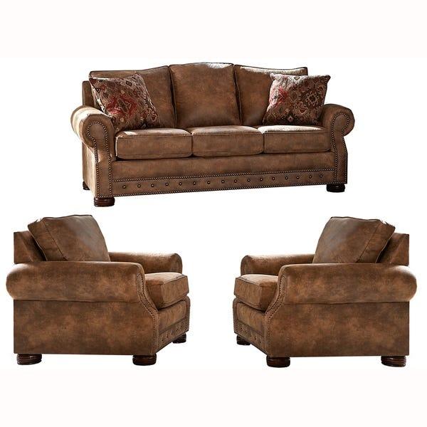 Shop Made in USA Rancho Rustic Brown Buckskin Fabric Sofa and Two .