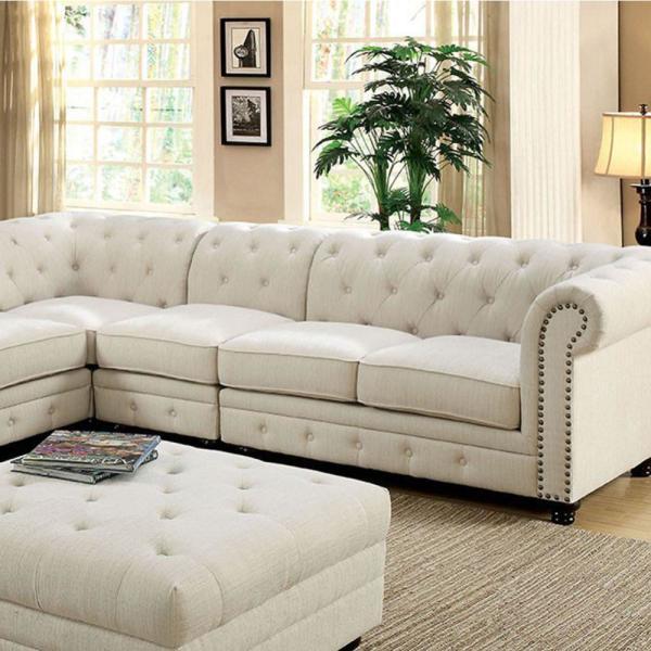 Benjara Ivory Stanford II Linen Like Fabric and Wood Sofa Chair .