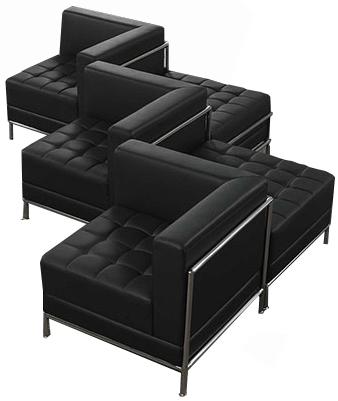 Black Tufted Modular 5-Seat Zig Zag So