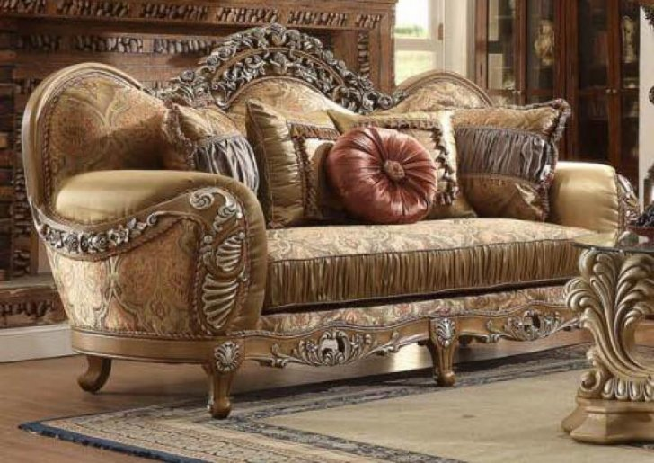 HD-622 Traditional Sofa Loveseat and Chair Set in Brown Fabric by .