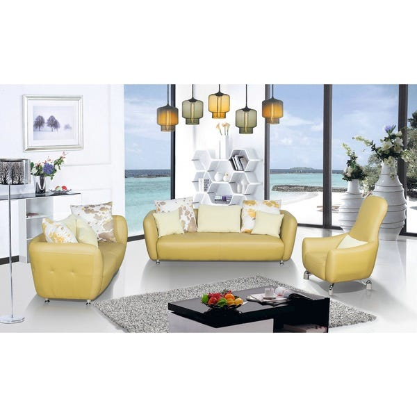 Shop 3-Piece Top Grain Leather Living Room Sofa, Loveseat and .
