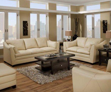 "I like the style of this leather sofa/loveseat set. ""Amazon.com ."