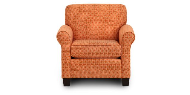 Juliet Chair adds a fresh tangerine touch. $499 | Sofa Mart .