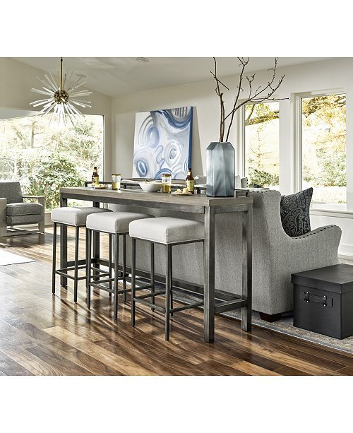 Furniture Channing 4-Pc. Table Set (Console Table & 3 Stools .