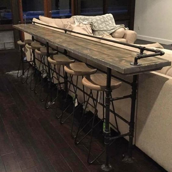 Wooden Bar Table Furniture Design | Farm house living room, Home .