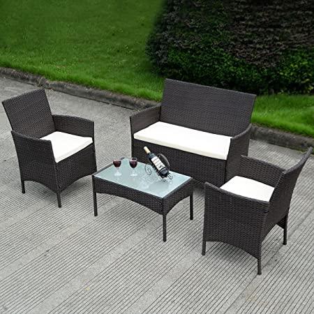 Amazon.com: Costway 4 PC Patio Rattan Wicker Chair Sofa Table Set .