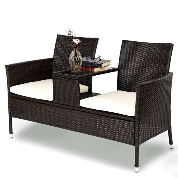 Gymax Loveseat Sofa Table Chairs Cushioned Patio Rattan Seat .