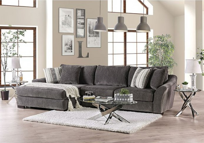 Sigge Charcoal Chenille Fabric Plush, Oversized Sofa Secti