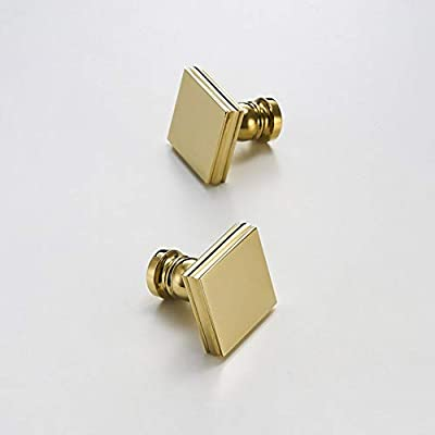 JFOPRH 2Pcs Pvd Gold Square Knob Brass Dresser Handle Drawer Pulls .