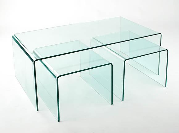 Viva Modern Arch (Waterfall) Coffee Table Nest | Glass | Living .