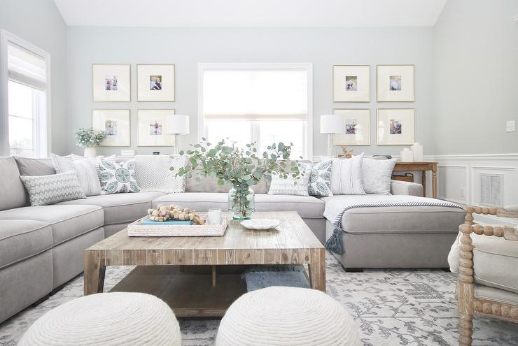 Gray Sectional with Large Square Wood Coffee Table - Transitional .