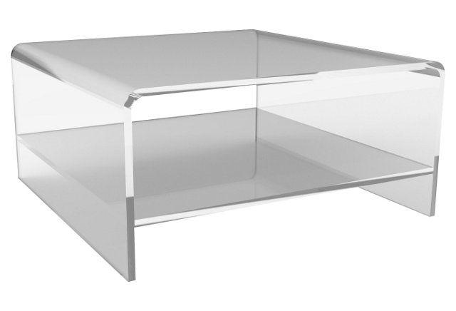 Waterfall Square Coffee Table w/ Shelf | Luxury coffee table .