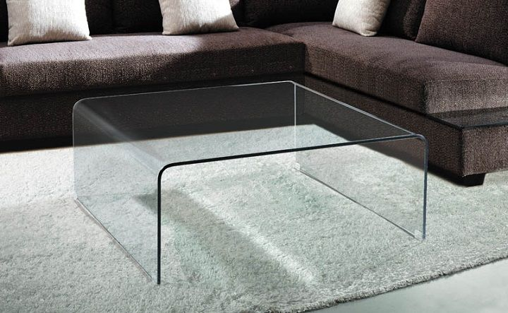 Square Bent Glass Waterfall Coffee Table | Coffee table, Coffee .