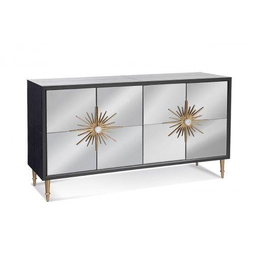 Grey Mirrored Sideboard Cabinet Gold Sunburst Door Handles .