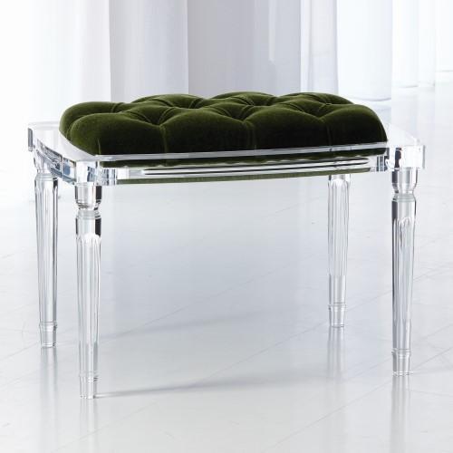 Global Views Marilyn Acrylic 4 Leg Bench-Emerald Green 3.31242 .