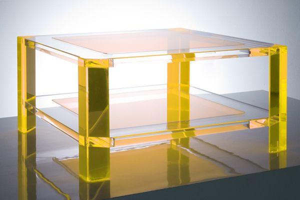 Radiant Acrylic Coffee Table Yellow   Acrylic coffee table .