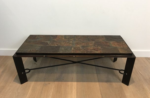 Steel and Iron Coffee Table with Lava Stone Top, 1940s for sale at .