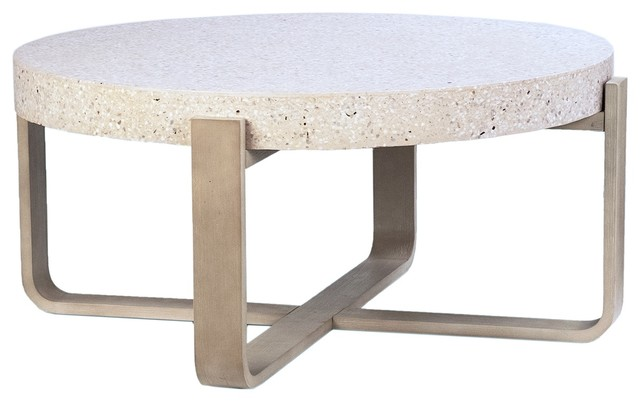"""41"""" Cristian Coffee Table White Stone Top Round Wooden Natural ."""