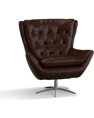 Remarkable Deals on Wells Leather Swivel Armchair with Brushed .