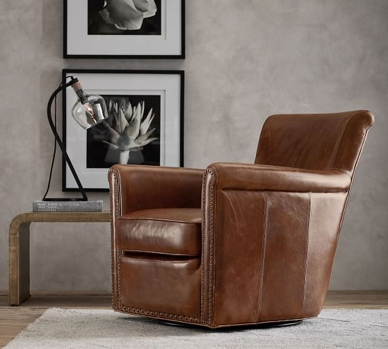 Irving Roll Arm Leather Swivel Armchair with Nailheads | Pottery Ba