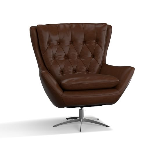 Wells Leather Swivel Armchair with Brushed Nickel Base, Polyester .