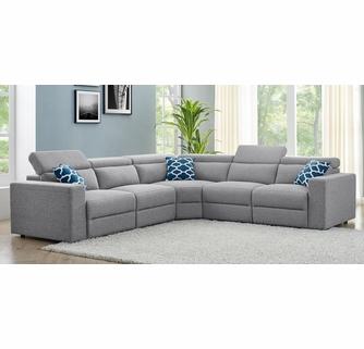Sydney 6-Pc Light Grey Fabric Sectional Sofa by One America Ho