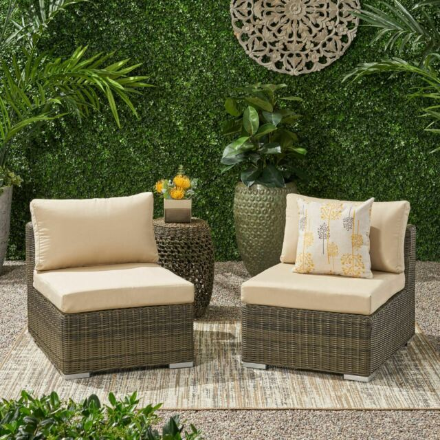 Sydney Outdoor Wicker Sectional Sofa Seat w/ Cushions (Set of 2 .