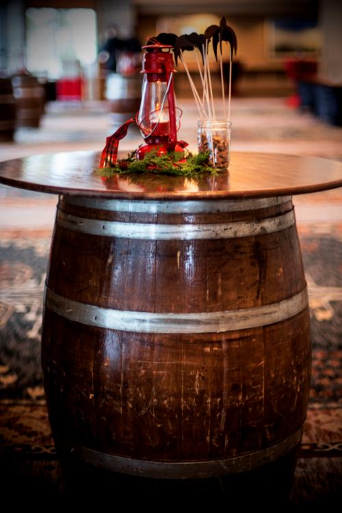 Barrel Cocktail Table — Tahoe Rustic Renta