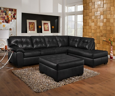 Pottery Barn Style Leather Sectional And Cocktail Ottoman – $1199 .