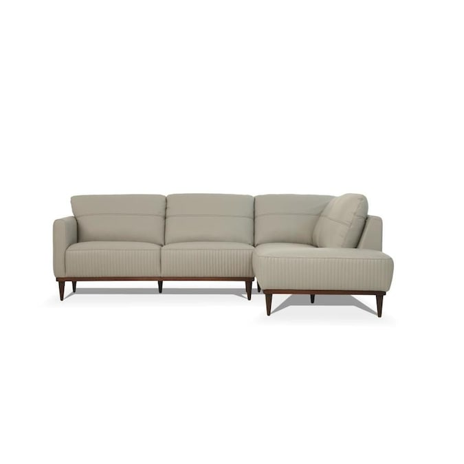 ACME Furniture Tampa Modern Pearl Gray Leather Sectional in the .
