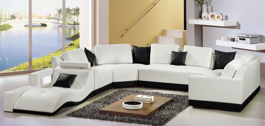 Tampa Contemporary Leather Sectional Sofa Set CP-226