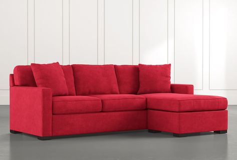 Taren II Red Reversible Sofa Chaise Sleeper With Storage Ottoman .