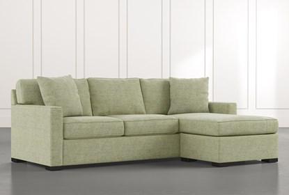 Taren II Green Reversible Sofa/Chaise Sleeper W/Storage Ottoman .
