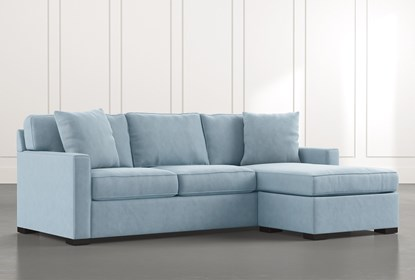Taren II Light Blue Reversible Sofa/Chaise Sleeper W/Storage .